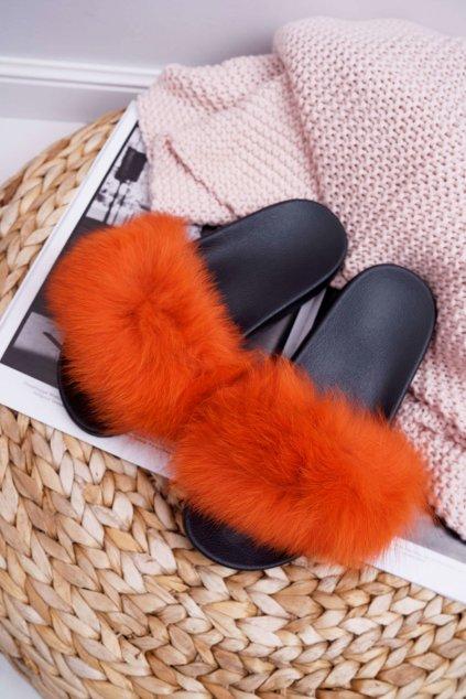 Dámske šľapky s kožušinou Oranžové Naturis