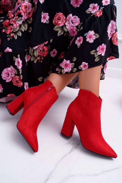 Dámske členkové topánky na podpätku s Nýtem Červené Snack