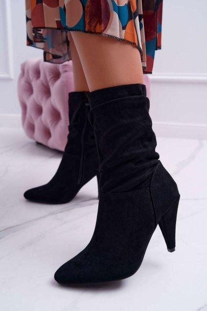 Dámske členkové topánky na podpätku so zipsom čierne Temma