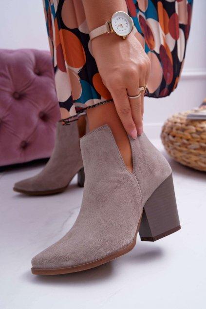 Členkové topánky na podpätku farba hnedá kód obuvi 2430 CAPPUCCINO/W/J