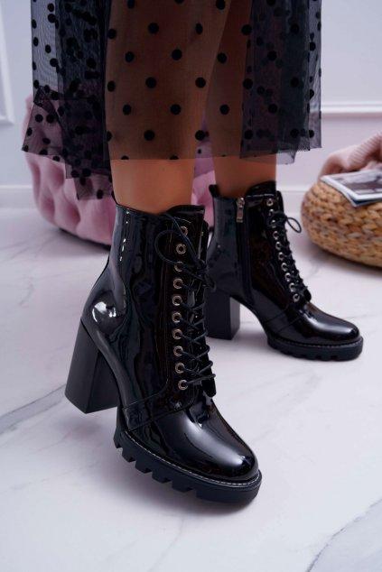 Dámske členkové topánky na podpätku čierne Insist