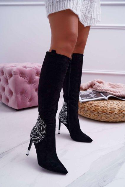 Dámske čižmy na vysokom podpätku semišové čierne Fashionable