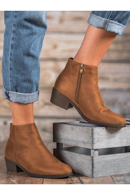 Hnedé dámske topánky na plochom podpätku Filippo kod DBT1048/19BR