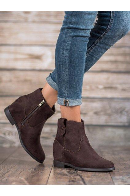Hnedé dámske topánky na platforme Filippo kod DBT1052/19D.BR