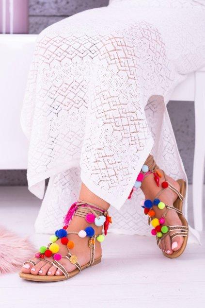 Lu Boo   Farebné sandále Pompoms Gladiator
