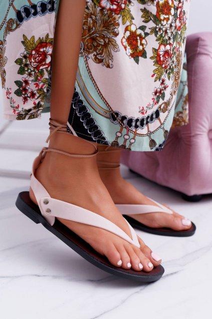 Lu Boo béžovej viazané japonskej sandále Florence