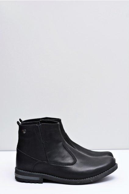 Kožené pánske čierne vysoké topánky Serni
