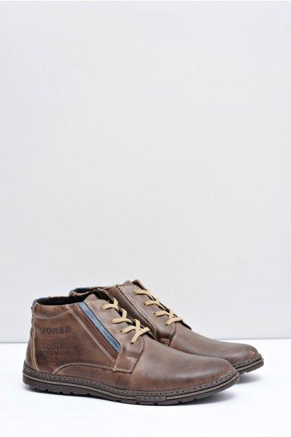 Hnedé pánske vysoké topánky so zipsom Cacado