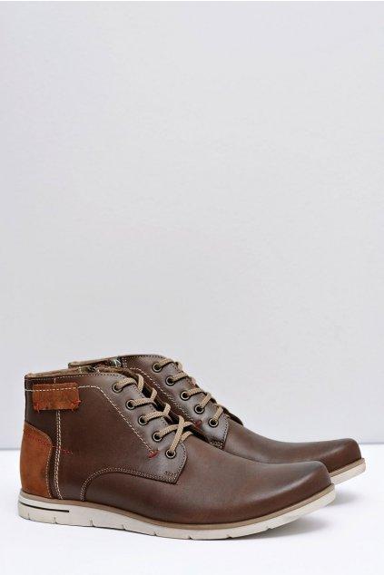 Pánske topánky na zimu farba hnedá kód obuvi 185F BROWN
