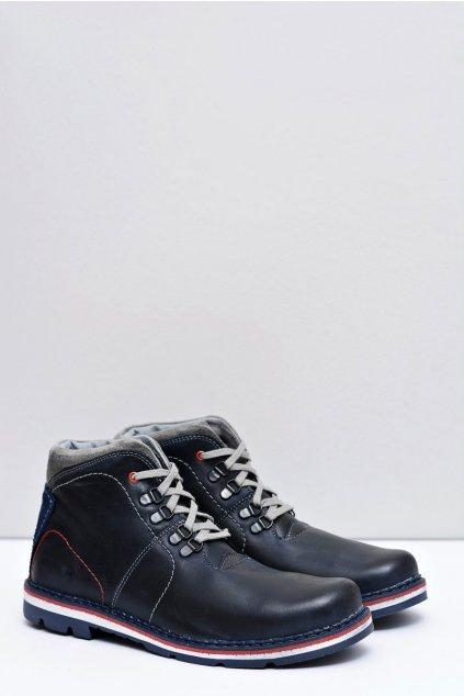Modré pánske topánky kožené Futro