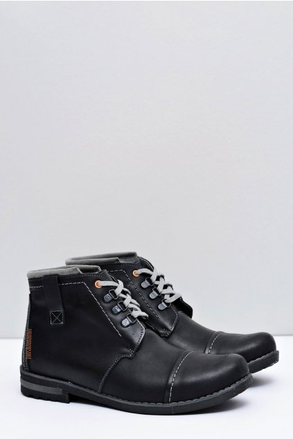 Pánske čierne kožené trapery Genoto