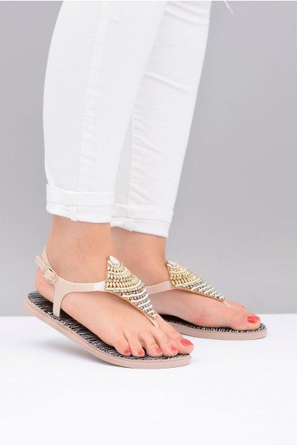 Lu Boo béžové dámske gumové sandále Indiana