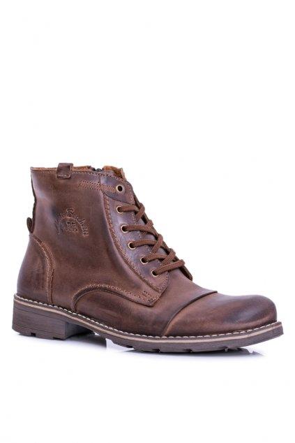 Pánské vysoké topánky kožené Teplé koža hnedé Mento