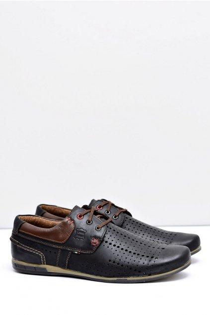 Čierne kožené perforované pánske topánky Boris