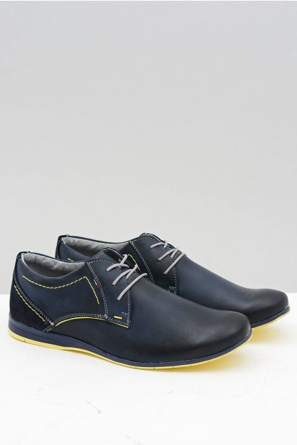 Pánske poltopánky farba modrá kód obuvi 257 NAVY/YELLOW