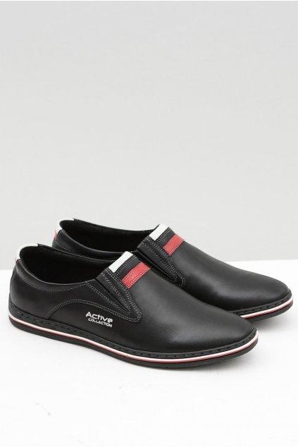 Slip-on kožené čierne pánske topánky Mellos