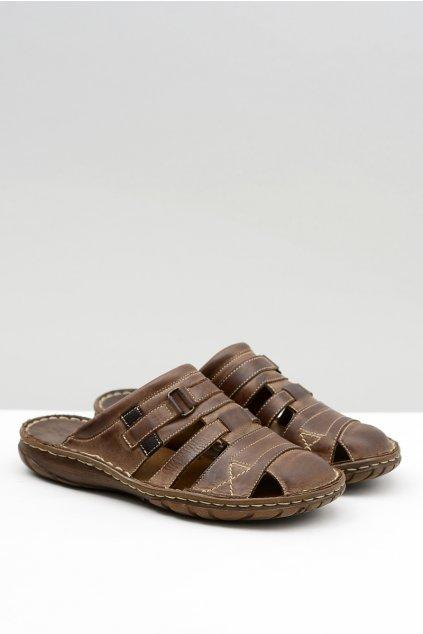 Kožené pánske papuče hnedé Vesuvio