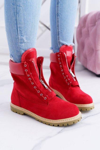 Lu Boo Dámske Červené semišové členkové topánky Nancy