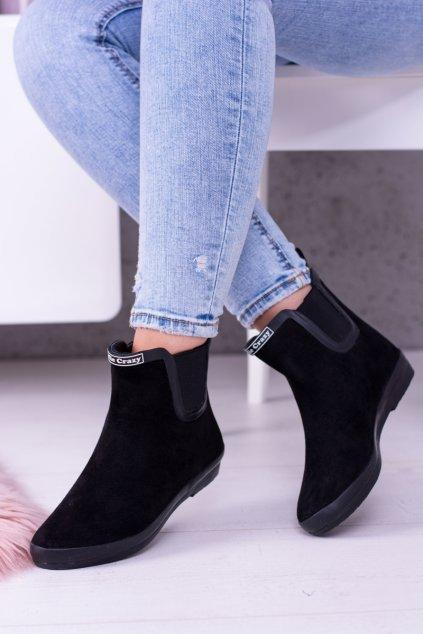 čierne Dámske krátké deštivé topánky Semiš Fancy