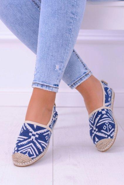 Lu Boo dámske modré textílne espadrilky Aztec Bimbi
