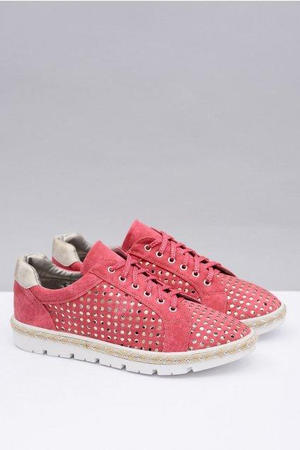Dámske poltopánky farba červená kód obuvi K1715002 ROJO