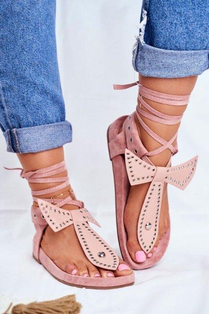 Dámske sandále s plochou podrážkou farba ružová kód obuvi F1-1 PINK