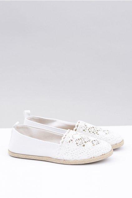 Biele krajkové topánky espadrilky Maribel