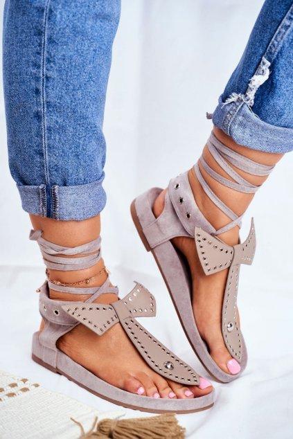 Dámske ploché sandále farba sivá kód obuvi F1-1 GREY