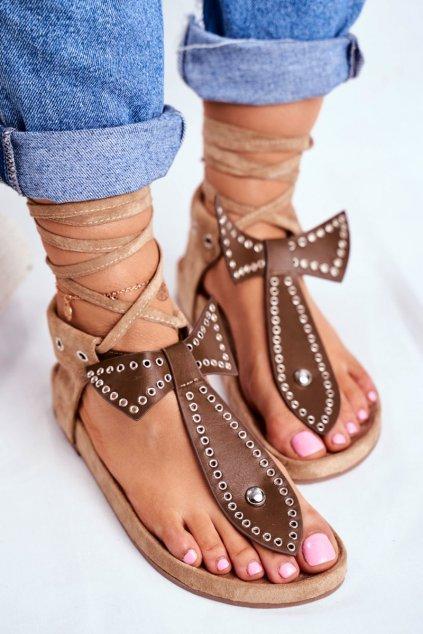 Dámske ploché sandále farba hnedá kód obuvi F1-1 BROWN