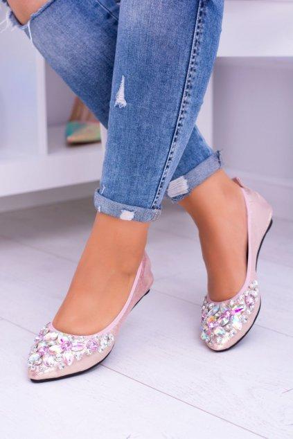 Dámske balerínky farba ružová kód obuvi B12-11 PINK