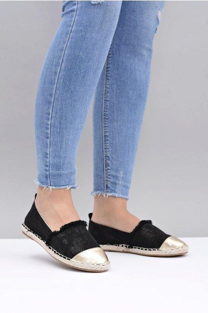 Nohavice čierne dámske tenisky na espadrilky Acante