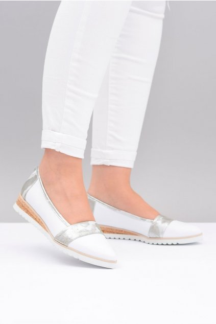 Dámske balerínky farba biela kód obuvi 411 WHITE/SILVER MORO