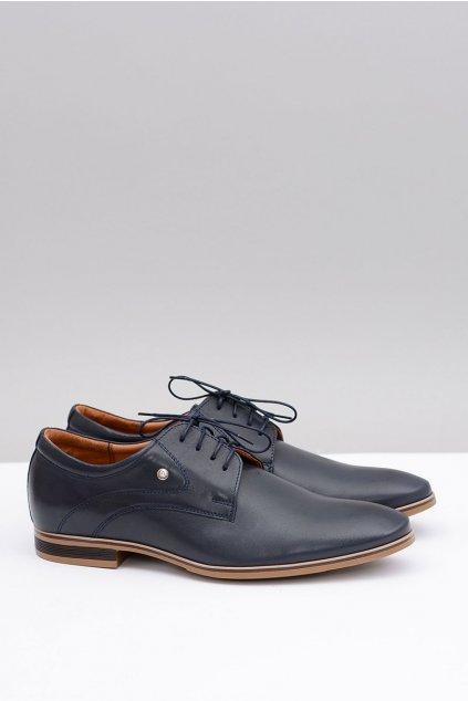Tmavo modré Navy elegantné kožené topánky Refugio