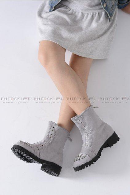 Detské členkové topánky farba sivá kód obuvi XW37279C LT.GREY