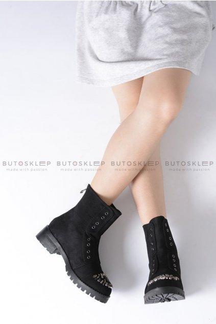 Lu Boo čierne detské topánky členkové s kubickým zirkónom Suede LittleCarrie