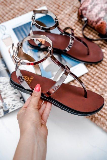 Dámske ploché sandále farba čierna kód obuvi LS01 PEWTER