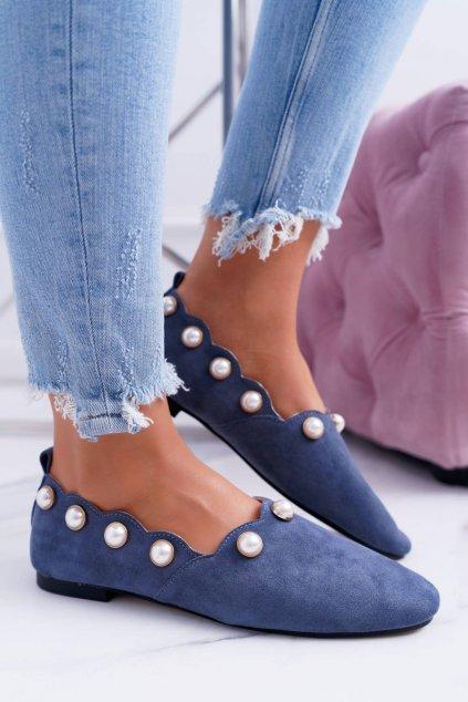 Dámske balerínky farba modrá kód obuvi 588C-12A LT. BLUE