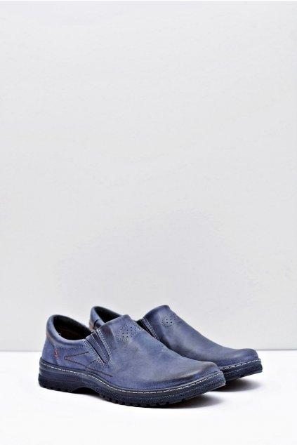 Tmavo modré kožené pánske topánky Velké rozmery Modest