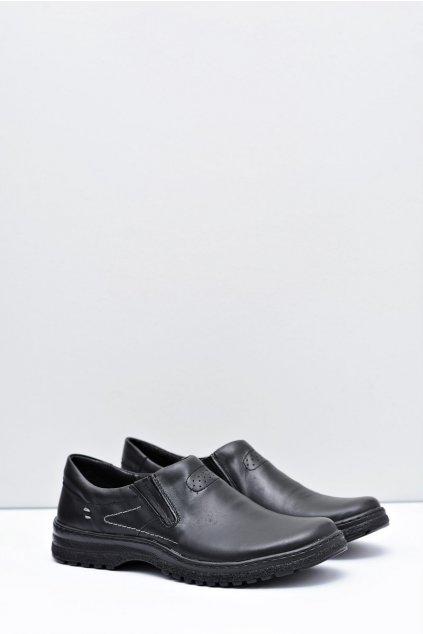 čierne kožené pánské topánky Velké rozmery Modest