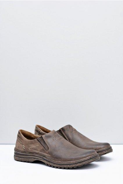 Hnedé kožené pánské topánky Velké rozmery Modest