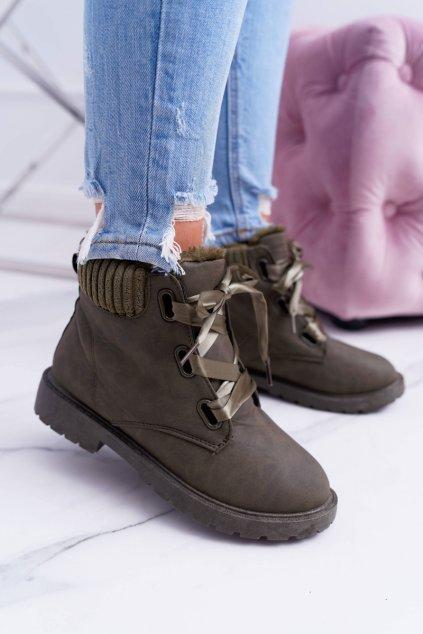 Dámske zelené členkové topánky Calama