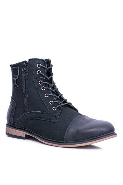 Pánske topánky na zimu farba čierna kód obuvi 7MN22-0054 BLK
