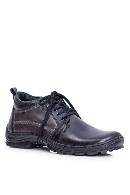 Kožené pánske členkové topánky Teplé čierne Felgado