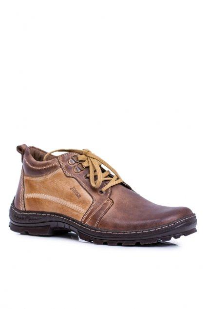 Kožené pánske členkové topánky Teplé hnedé Felgado