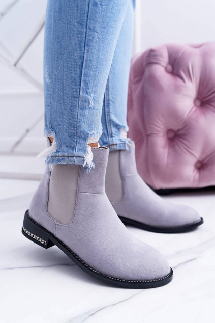 Dámske sivé členkové topánky Pérka Lu Boo Tennes
