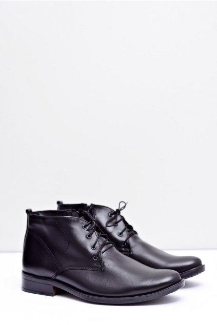 Pánske kožené vysoké topánky čierne teplé fleece Donavan