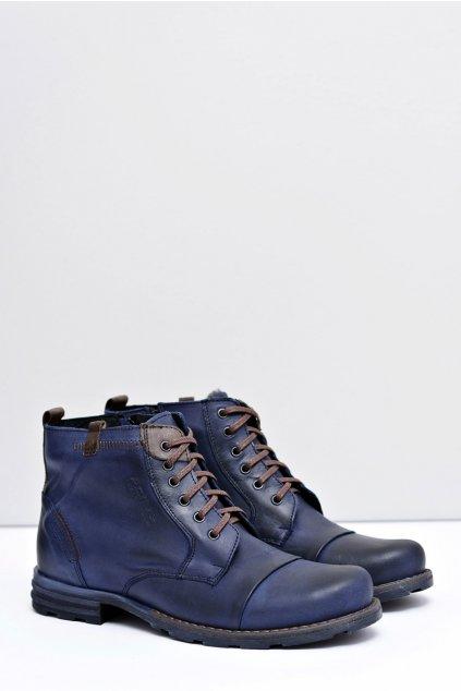 Pánské Kožené vysoké topánky tmavo modré Valerian