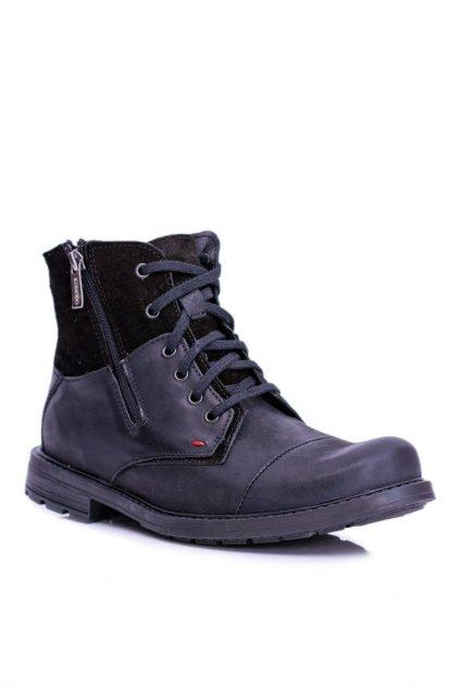 pánske vysoké topánky čierna koža so zipsom KOMODO 871