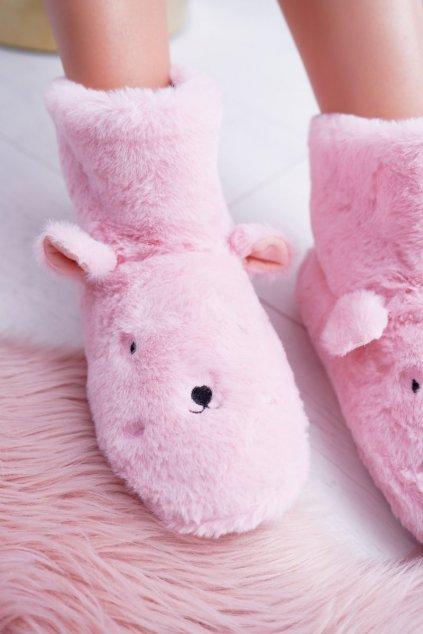 SOXO Teplé domáce ružové topánky Bunny Fishes 97308