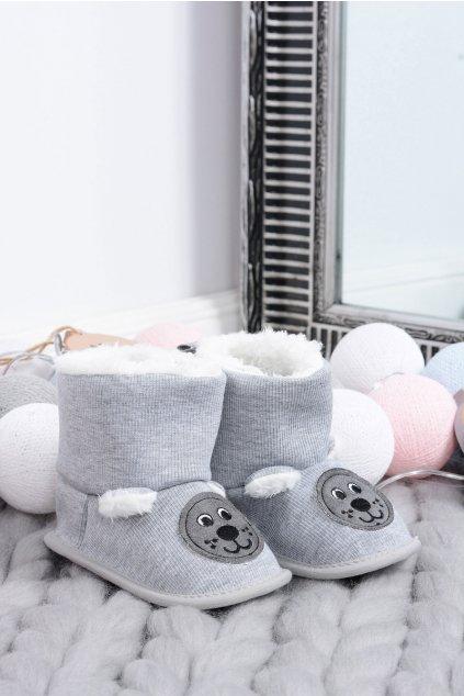 Teplé papuče so psami SOXO sivé